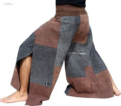 Stone Drive In Wrap Pants Patch Front Tie Loose Fit In Brown & Black sz XL