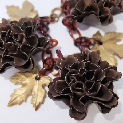 Vintage Art Deco Celluloid Autumn Leaves & Flower Bracelet