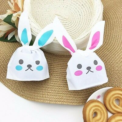 50x BlueCartoon Rabbit Ear Cookie Packaging Candy Gift Bags Party Decorations