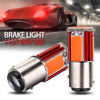 2x Red 1157 BAY15D COB LED Car Tail Stop Brake Light Turn Signal Bulb Lamp 12V