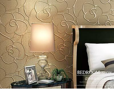 Modern Flocking Roll Wallpaper Damask Embossed Bedroom Home Decor 4 Colors