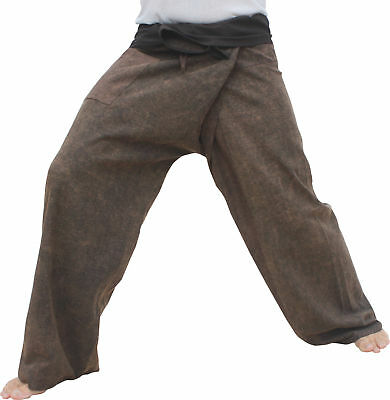 Fisherman Pants Cotton Stonewashed Great Quality Comfortable - Brown sz S
