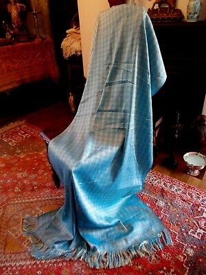 Turquoise & Gold Silky Thai Throw~Eastern Design~Wrap~Tablecloth~Drape