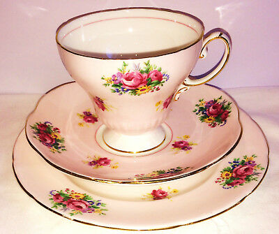 Foley Pink Rose Tea cup Saucer Tea plate English vintage china high tea party