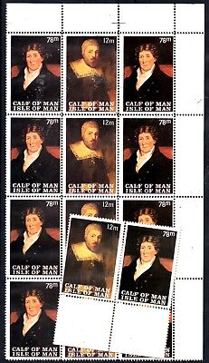 A Block Of 12 +A Pair Stamps From Great Britain,isle Of Man,calf On Man 1963??.