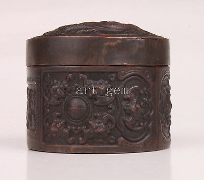 Red Copper Box Carved Dragon Sacred Old Authentic Chinese Collection