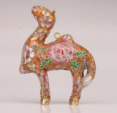 Cloisonne Statue Pendant Animal Camel Old Authentic Chinese Art Craft Collectabl