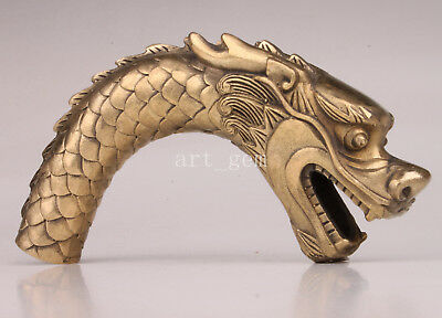 Brass Bending Dragon Statue Cane Walking Stick Head Handle Accessorie Collection