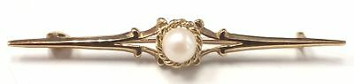 375 9ct YELLOW GOLD Pearl Brooch, 1.89g - C78
