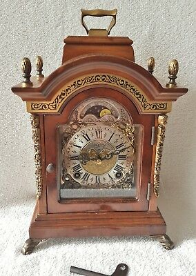 Rare Warmink Clock Black Band Shelf Mantel Nut Wood 8 Day Night Switch Moonphase