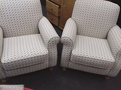 NEXT Cream Chenille Fabric With Red&Blue Polka Dot ARMCHAIRS - B91