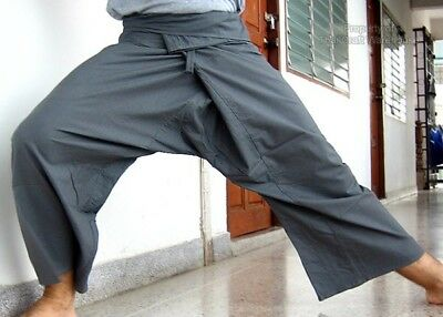 Thin Cotton Slate Grey Thai Fishermans Pants - Yoga sz S
