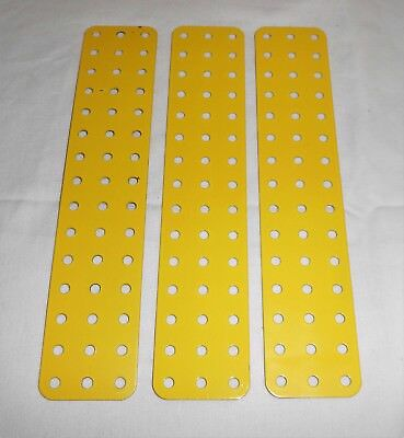 "MECCANO ""MW"" PART 74E FRENCH YELLOW FLAT PLATES 7.5""x 1.5"" x 3pcs"