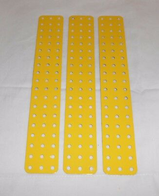 "MECCANO ""MW"" PART 74F FRENCH YELLOW FLAT PLATES 9.5""x 1.5"" x 3pcs"