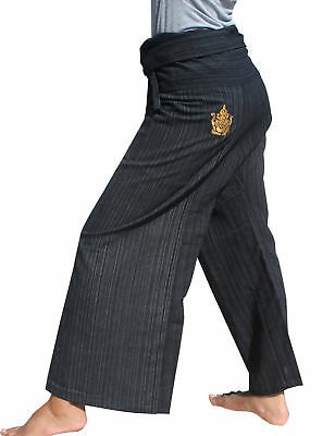 Striped Cotton Fisherman Pants Embroidered Ganesha In Black sz M Tall