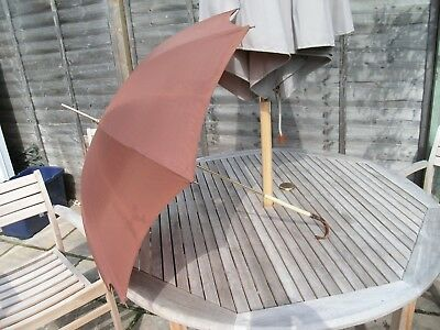 Vintage Lawtex Brown Umbrella Or Parasol With Pearlised Handle Made In England