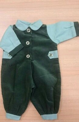 Green cord rompers outfit to fit approx 12 inch doll. New.