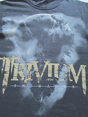 Trivium In Waves 2011 Summer Tour Black White Gray T Shirt Size S Small M Medium