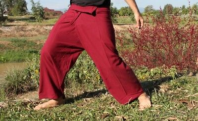Aum Cotton Fisherman Pants Quality Casual Every Day In Auburn Red sz XXL