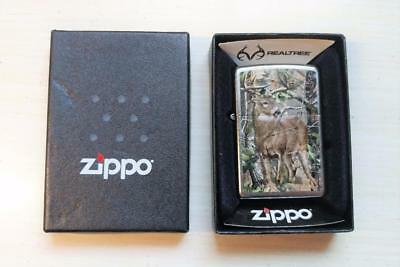 New Zippo Deer In The Woods Lighter w/ Box ~ 7-F6096