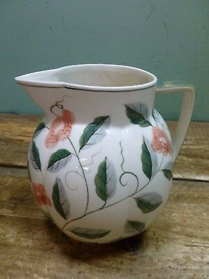 Laura Ashley Large Ceramic Floral Hand Painted Jug Planter Vase 1992