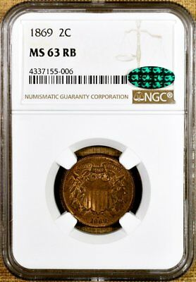 1869 NGC MS63 RB Two Cent Piece - CAC Stickered