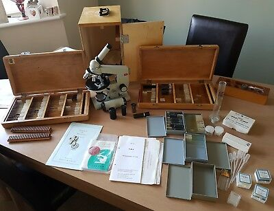 lomo biolam microscope, monocitar head, 4 position nosepieces.MICROSCOPE SLIDES