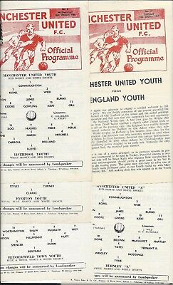 """5 x MANCHESTER UNITED YOUTH PROGRAMMES 1966-7 ENGLAND, BURNLEY """"A"""", LIVERPOOL"""
