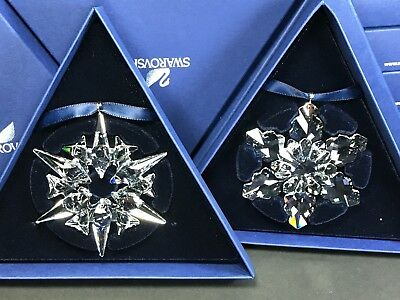 Swarovski Large Annual Edition Christmas Ornament 2007 & 2008 Set MIB