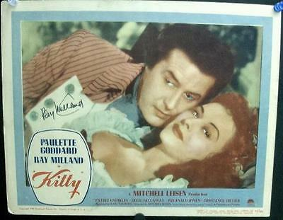 Ray Milland Paulette Goddard Signed Autographed Paramount Pictures Kitty Lobby