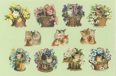 Victorian Die Cut Scraps, Cats and Kittens   H78