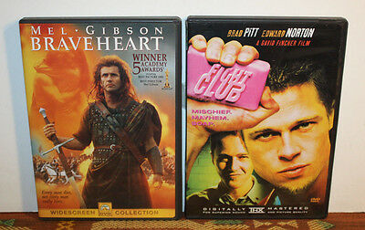 Braveheart / Fightclub [2 x DVD lot] Mel Gibson, Brad Pitt [Action/ Adventure]