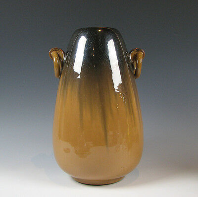 Large Fulper American Art Pottery 2 Ring Handle Flambe Vase