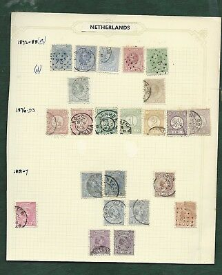 Netherlands nice lot of MH and used old stamps on album pages
