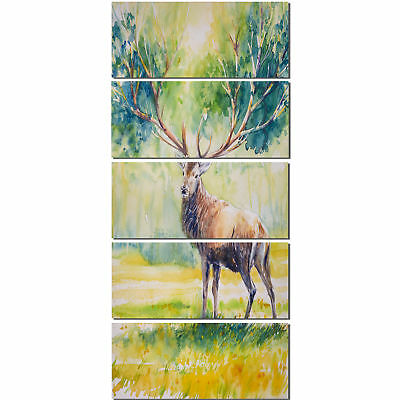 Design Art 'Deer with Blue Horn' 5 Piece Painting Print on Canvas Set