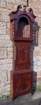 ANTIQUE Grandfather LONGCASE CLOCK Mahogany CASE Only EMPTY For RESTORATION