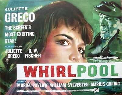 French Parisian Juliette Greco Orig Rolled Whirlpool Uk Rank Films Half Sheet