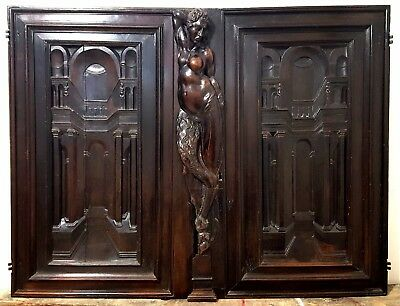 Hand Carved Wood Cabinet Panel Door Matched Pair Antique French Faun Renaissance