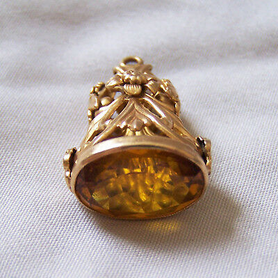 Victorian 14k  Gold Canary Yellow Sapphire Watch Fob 6.5 Grams