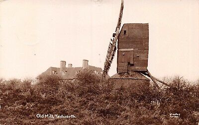 Surrey Tadworth The Old Windmill 2 Sails Side View & House 1912 Photo Card