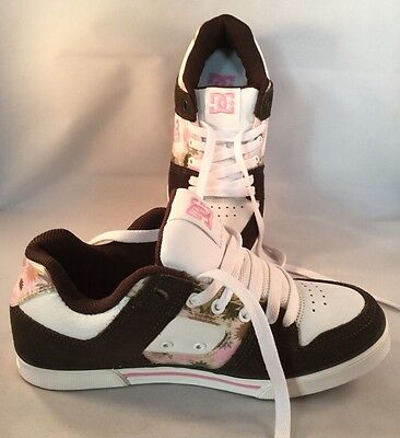DC Girls athletic tennis shoes White Brown Pink size 6.5 W  girls youth leather