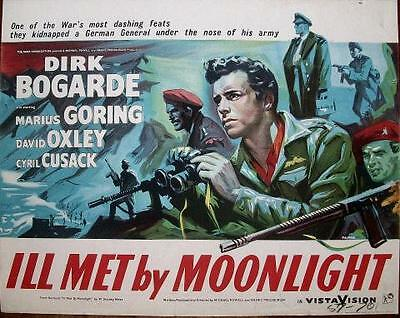 Dirk Bogarde Ill Met By Moonlight Orig Wwii Uk Rolled Rank Films Half Sheet