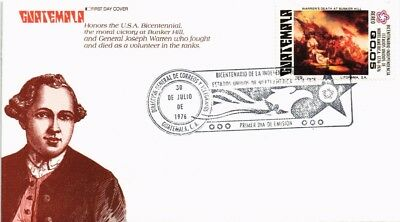 Dr Jim Stamps American Revolution Bicentennial Fdc Guatemala Cover 1976