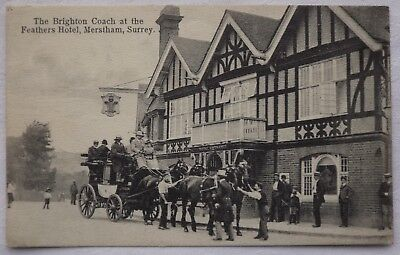 1914 pc THE BRIGHTON COACH AT THE FEATHERS HOTEL MERSTHAM SURREY, HORSE DRAWN