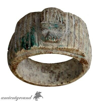 Intact Vintage Egyptian Glazed Ring With Winged Scarab On The Top
