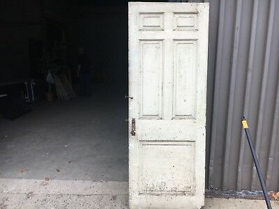 "c1830 Raised panel door old crusty paint 77.5"" x 29"" - five panel old hardware-A"