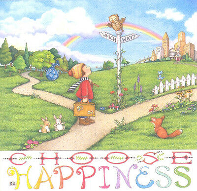 CHOOSE HAPPINESS-Handcrafted Owl Fridge Magnet-Using art by Mary Engelbreit