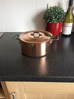 French vintage copper casserole stamped Fabrication Francaise