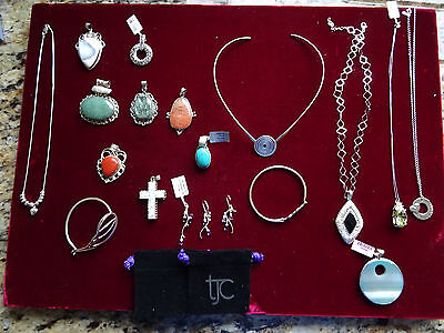 Job Lot Of Sterling Silver Necklaces Ect
