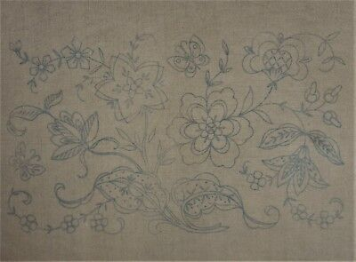 Vintage Jacobean Floral Stamped Linen for Crewel Embroidery Partial Kit w/ Yarn